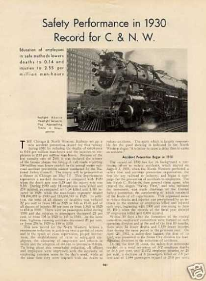 """Safety In 1930 Record for C.& N.w."" Article (1931)"