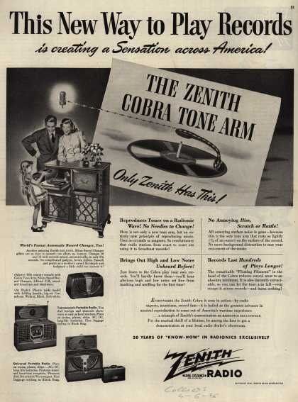 Zenith Radio Corporation's Radio-Phonograph – This New Way to Play Records is creating a Sensation across America (1946)