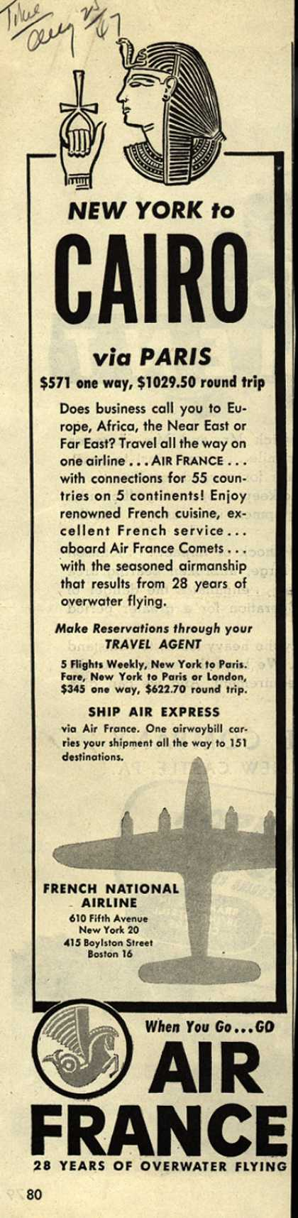 French National Airline's Cairo – New York to Cairo via Paris (1947)