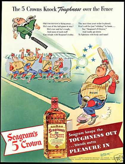 Seagram's Five Crown Whiskey Baseball Art (1942)