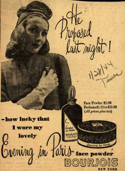 Bourjoi's Evening in Paris Cosmetics – He Proposed last night (1944)