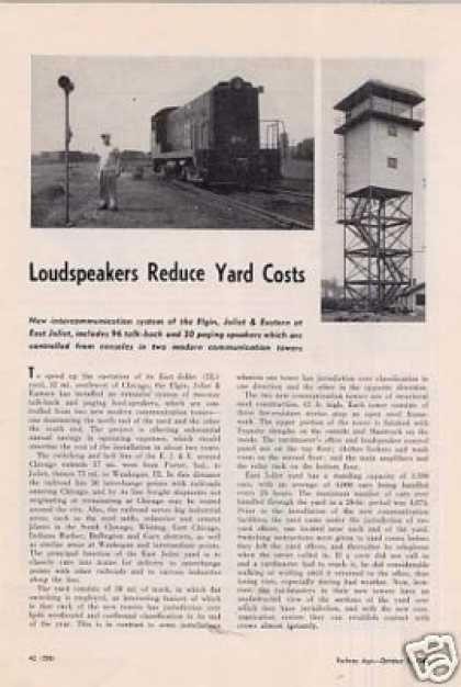 """Loudspeakers Reduce Yard Costs"" Article/ej&e (1949)"