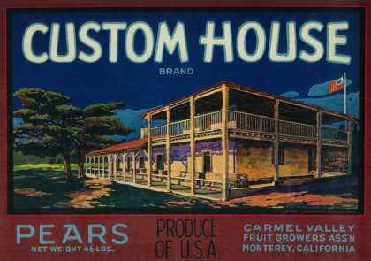 Custom House Pear Crate Label – Monterey, CA