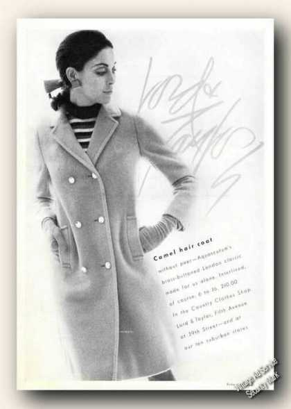 Lord & Taylor Camel Hair Coat Advertising Rare (1967)
