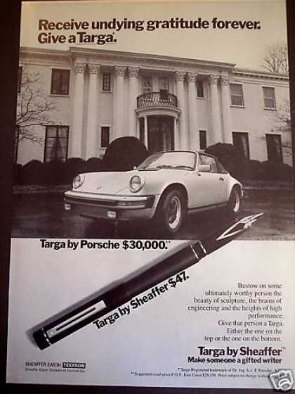 Porsche Targa Sports Car & Sheaffer Pen Photo (1980)