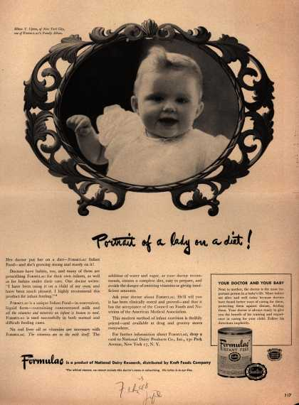 National Dairy Research's Formulac Infant Food – Portrait of a lady on a diet (1948)
