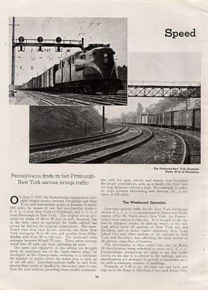 """Speed Means More Merchandise"" Article/prr (1939)"