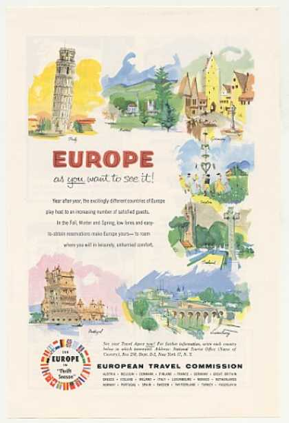 Europe Travel Italy Austria Germany Sweden art (1955)