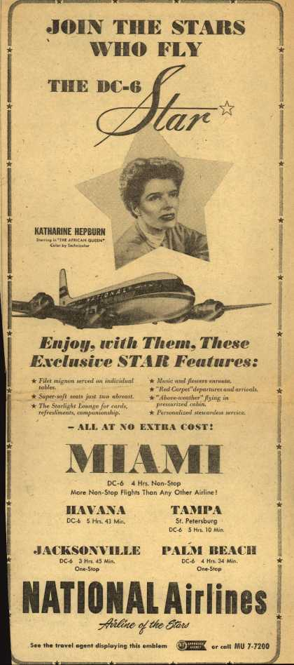National Airline's Star – JOIN THE STARS WHO FLY THE DC-6 STAR (1952)