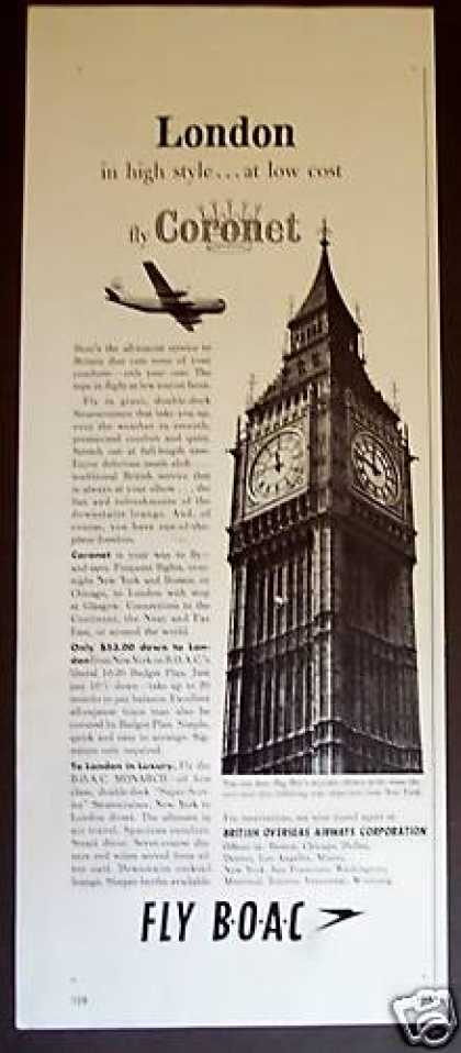 Boac Coronet Airline To London (1955)