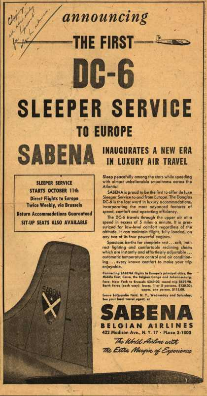 Sabena Belgian Airline's Sleeper Service to Europe – The First DC-6 Sleeper Service to Europe (1949)