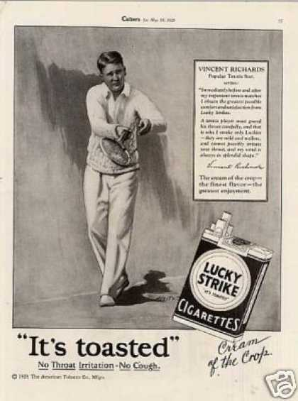 Lucky Strike Cigarettes Ad Vincent Richards (1928)