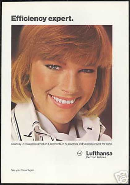 Pretty Lufthansa German Airlines Stewardess (1986)