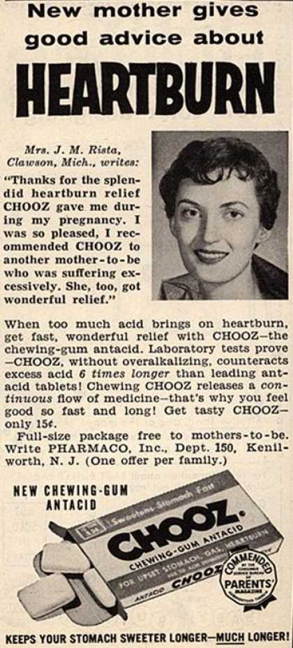 Pharmaco's Chooz – New mother gives good advice about Heartburn (1958)