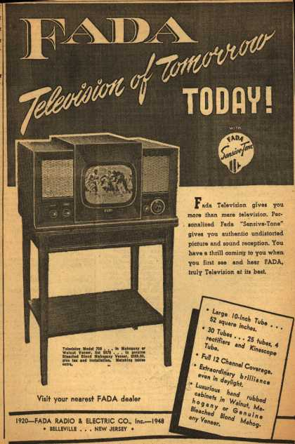 Fada Radio & Electric Co.'s Sensive-Tone TV – Fada: Television of Tomorrow Today (1948)