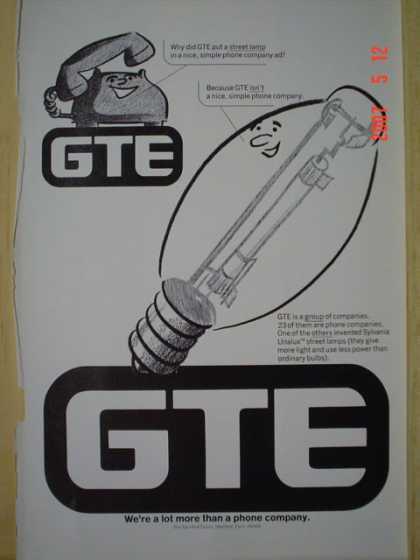GTE General Telephone Phone Co Phone Co and lightbulbs (1977)