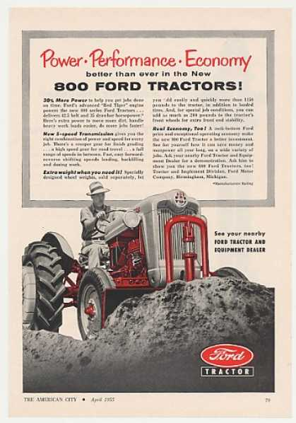 Ford 800 Tractor Power Performance Economy (1955)