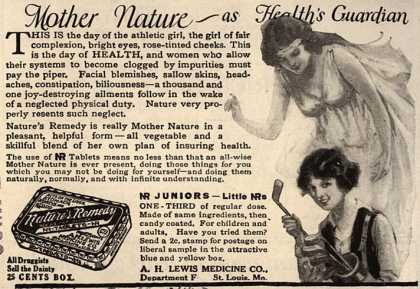 A. H. Lewis Medicine Co.'s Nature's Remedy – Mother Nature – as Health's Guardian (1923)