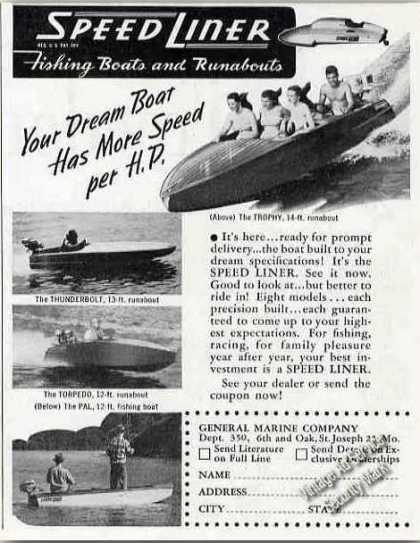 Speed Liner Fishing Boats & Runabouts Photos (1948)