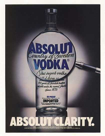 Absolut Clarity Vodka Bottle Magnifying Glass (1987)