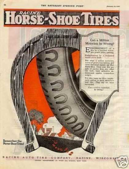 Racine Horse-shoe Tires Color (1920)