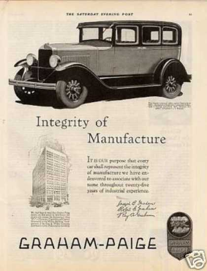 Graham-paige Car Ad 'integrity Of... (1928)