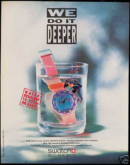 Diver Swatch Scuba Watch Photo Do It Deeper (1991)
