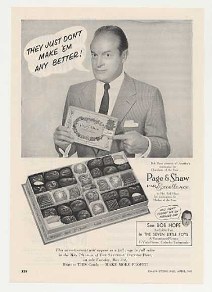 Bob Hope Page & Shaw Candy Photo (1955)