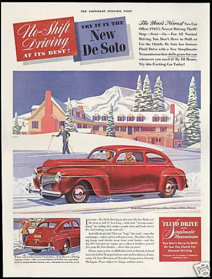 De Soto 2 Dr Sedan Snow Skier DeSoto Car (1941)