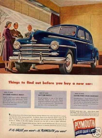 "Plymouth Car Ad ""Things To Find Out... (1948)"