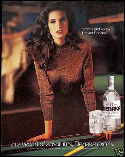 Pretty Brunette Pool Table Denaka Vodka (1989)