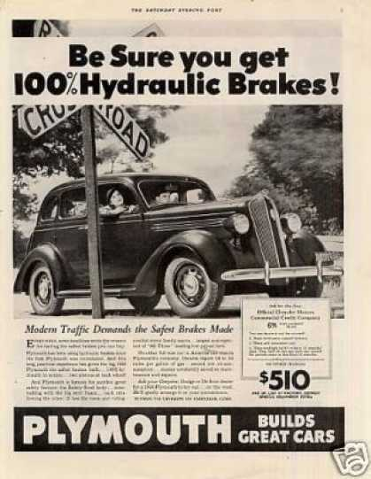"Plymouth Car Ad ""Be Sure You Get... (1936)"
