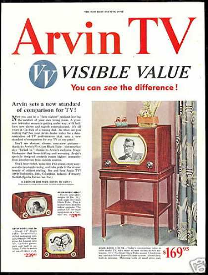 Arvin TV Television 3 Photo Vintage (1950)