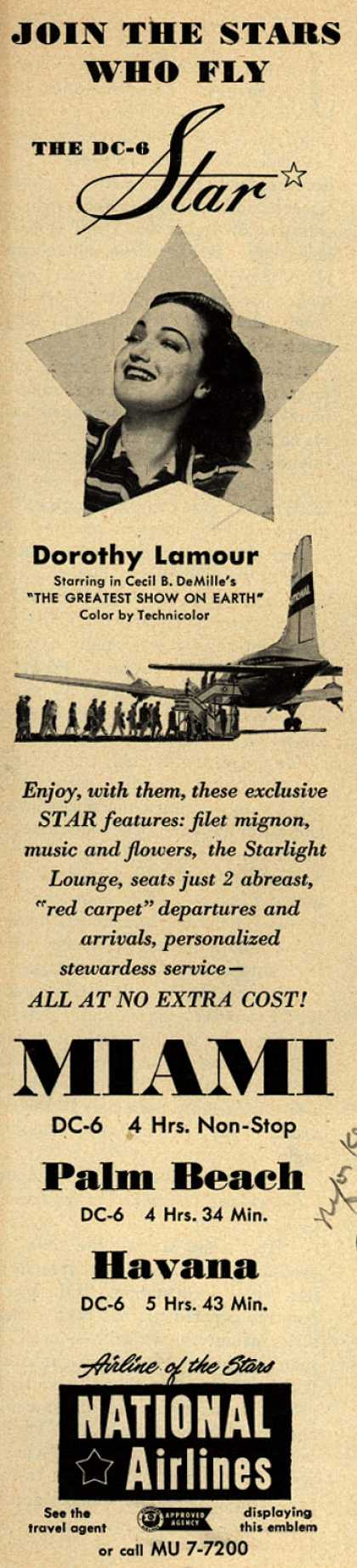 National Airline's Star luxury – Join The Stars Who Fly THE DC-6 Star (1952)