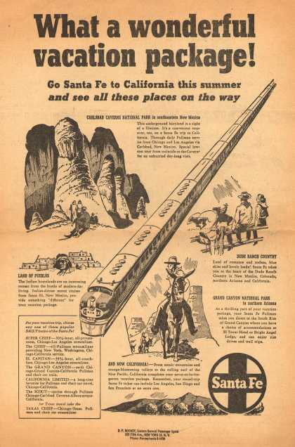 Santa Fe Railway – What a wonderful vacation package (1949)