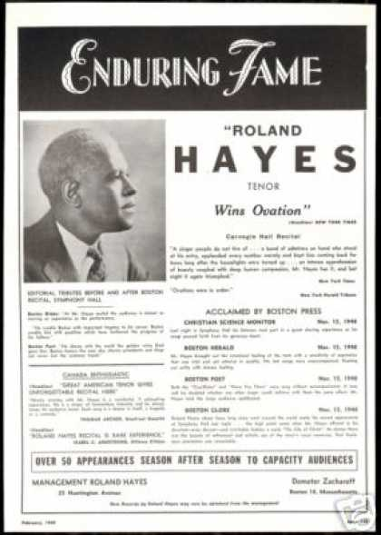 Roland Hayes Photo Tenor Reviews Booking (1949)