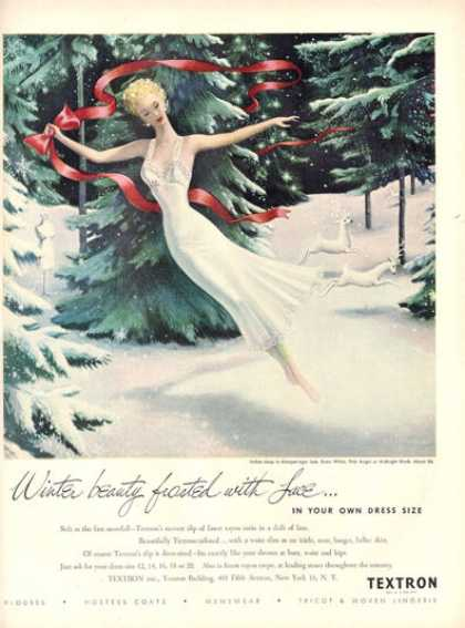 Textron Slip Woman Deer In Snow Sternberg Art (1948)