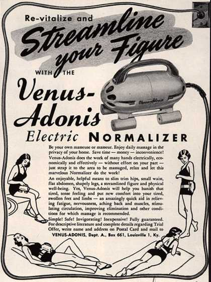 Venus-Adonis – Re-vitalize and Streamline your Figure With The Venus-Adonis Electric Normalizer (1950)