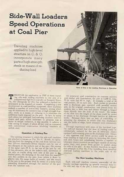"""Loaders Speed Operations at Pier"" Article/c&o (1939)"