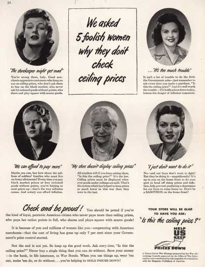 War Advertising Office's Anti-inflation – We asked 5 foolish women why they don't check ceiling prices (1944)