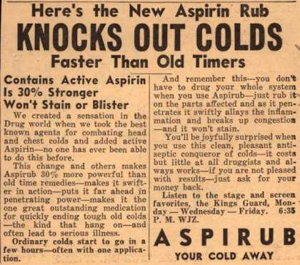 [Justin Haynes & Co.]'s Aspirub – Knocks Out Colds (1936)