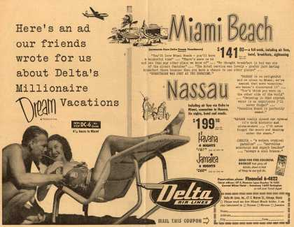 Delta Airline's Delta Air Lines – Here's an Ad Our Friends Wrote for Us About Delta's Millionaire Dream Vacations (1952)