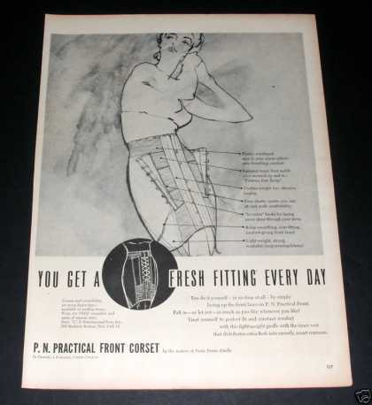 """P.n Practical Front Corset"" Ad, Ex (1949)"