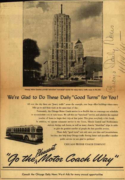 "Chicago Motor Coach Company – We're Glad to Do These Daily ""Good Turns"" for You (1945)"