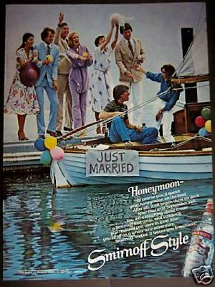Just Married On the Boat Photo Smirnoff Vodka (1979)