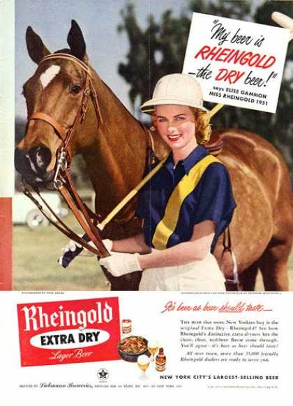 Rheingold Beer Girl Polo Horse Gear (1951)
