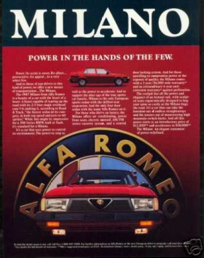 Alfa Romeo Milano Vintage Photo (1987)