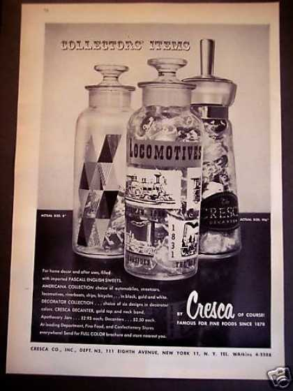 Cresca Decanters Jars W/ Pascall Sweets (1956)