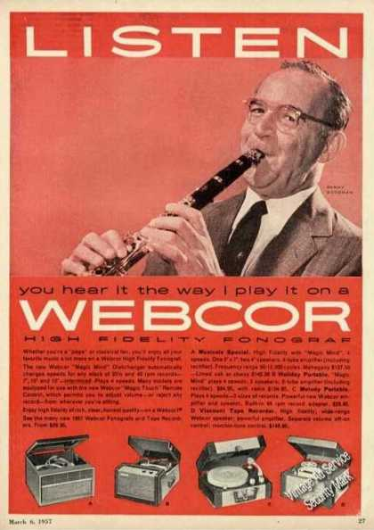 Benny Goodman Photo Webcor Hi Fi Fonograf (1957)