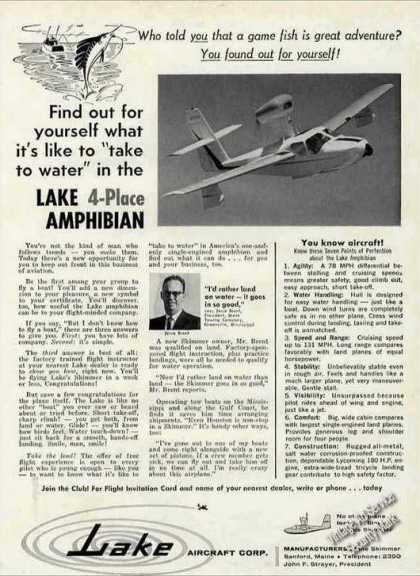 Lake 4-place Amphibian Sanford Main Aircraft (1960)